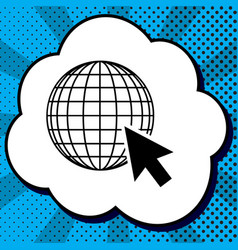 earth globe with cursor black icon in vector image