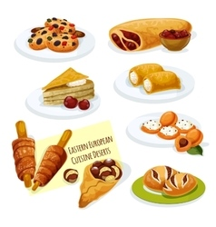 Eastern european cuisine pastry desserts icon vector