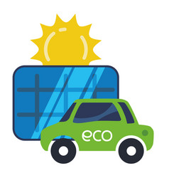 Eco car electric solar panel vector