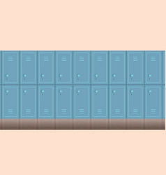 empty school corridor interior with row lockers vector image