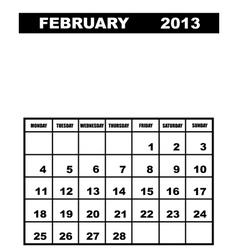 February calendar 2013 vector