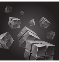 Flying gray transparent cubes abstract background vector