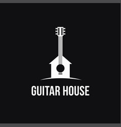Fun minimalist guitar house logo icon template vector