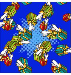 Gifts pop art comics seamless pattern vector