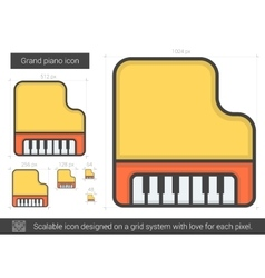 Grand piano line icon vector