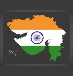 Gujarat map with indian national flag vector