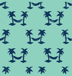 hammocks between palm trees seamless vector image