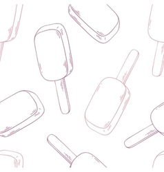 Hand drawn ice cream seamless pattern in outline vector image