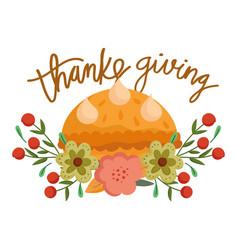 happy thanksgiving day pumpkin cake sweet food vector image