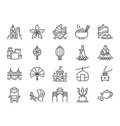 hong kong travel icon set vector image