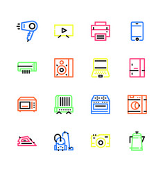 household appliances icons flat vector image