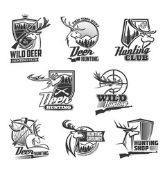 hunting club bades wild deer hunt ammo shop vector image
