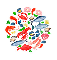 Icons seafood vector