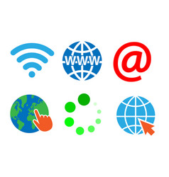 internet sign symbol set on white background vector image