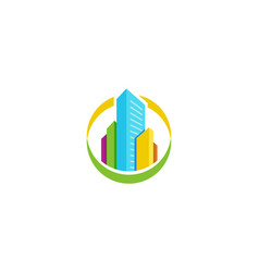 Isolated colorful real estate agency logo house vector
