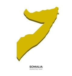 Isometric map of Somalia detailed vector