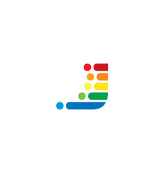 j colorful letter speed pixel logo icon design vector image