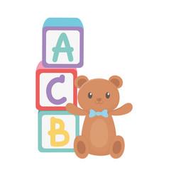 Kids zone alphabet blocks teddy bear and cartoon vector