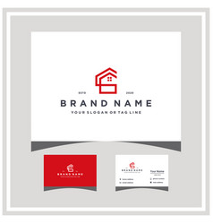 Letter cg home logo design and business card vector