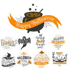 Logo set happy halloween vector