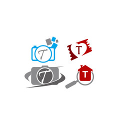 Logotype t modern template set vector