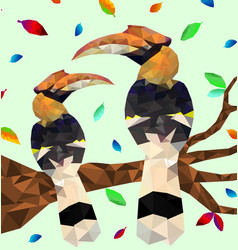 Low poly colorful hornbill bird with tree vector