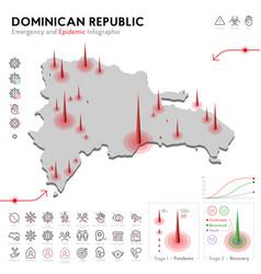 Map dominican republic epidemic and quarantine vector