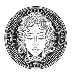 Medusa gorgon head on a shield hand drawn line art vector