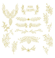 Merry christmas floral template vector