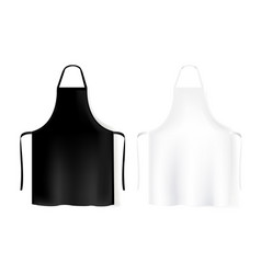 Mockup white and black aprons isolated white vector