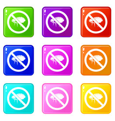 No flea sign icons 9 set vector