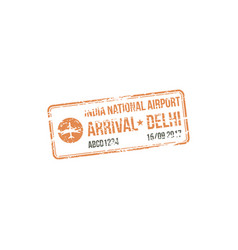 Official visa stamp india delhi airport isolated vector