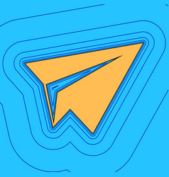 Paper airplane sign sand color icon with vector