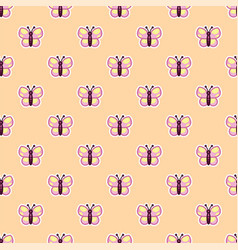 pattern pink butterfly on beige background vector image