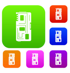 phone chip set color collection vector image