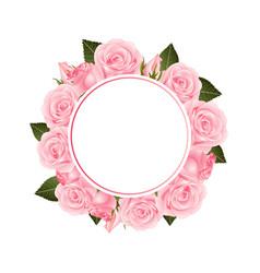 pink rose flower banner wreath vector image
