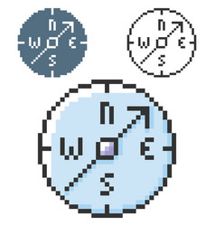 Pixel icon compass in three variants fully vector
