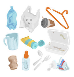 Plastic waste set pollution and environment vector