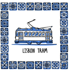 Portugal landmarks set lisbon retro tram vector