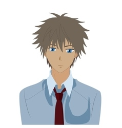 Pretty boy anime male manga cartoon comic portrait vector image