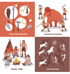 Primal tribe people concept icons set vector