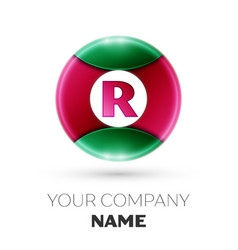 Realistic letter r logo in colorful circle vector