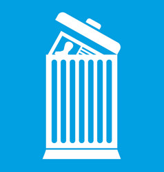 Resume thrown away in the trash can icon white vector