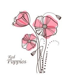Retro poppies vector