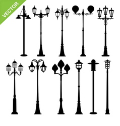 Retro street lamps silhouettes vector image