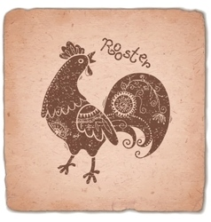 Rooster Chinese Zodiac Sign Horoscope Vintage vector