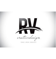 Rv r v letter logo design with swoosh and black vector
