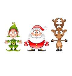 Santa Claus elf and reindeer vector