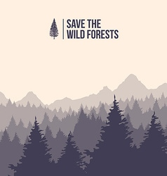 Save the wild forests tree landscape vector