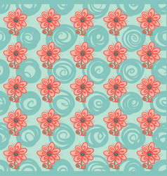 seamless pattern with flowers and swirls on green vector image